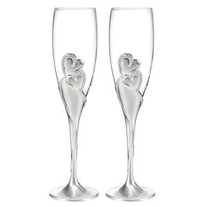 Rhinestone Hearts Bride and Groom Champagne Flute Glass Set