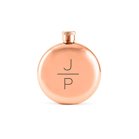 Polished Rose Gold Bride Bridesmaid Flask - Stacked Monogram Etching