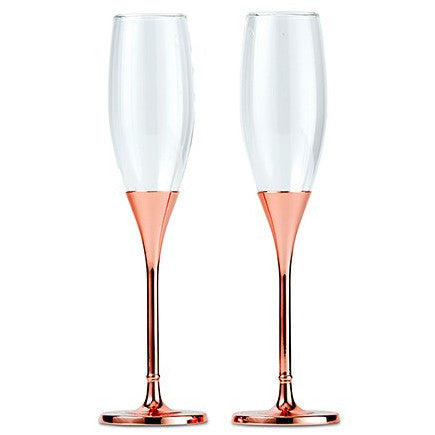 Rose Gold Wedding Toasting Flutes Diamond Glitter