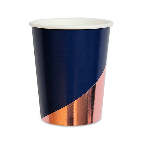 Rose Gold and Navy Party Cup Tumbler - 9 oz (Pack of 8)