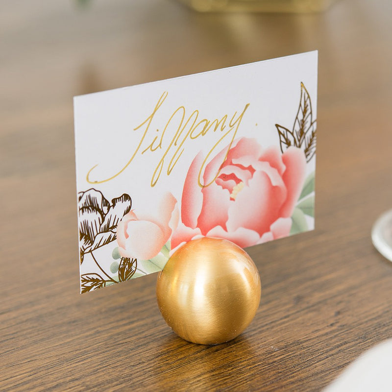 Classic Brushed Gold Round Stationery Place Card Holder (Pack of 8)