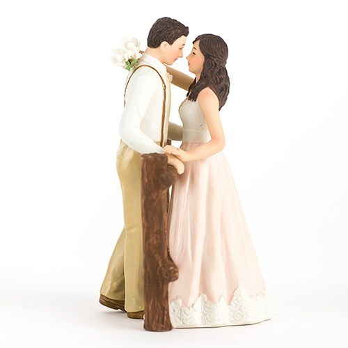 Rustic Bride and Groom Porcelain Wedding Cake Topper