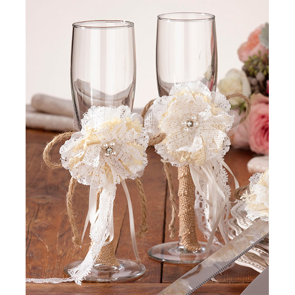 Rustic Burlap Bride Groom Wedding Glass Set