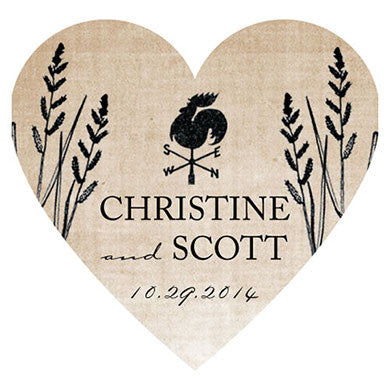 Rustic Country Heart Sticker (Pack of 36)