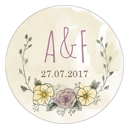 Rustic Chic Personalized Wedding Favor Sticker