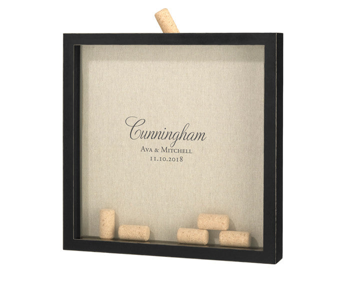 Personalized Script Wedding Guest Book Frame for Signing Corks