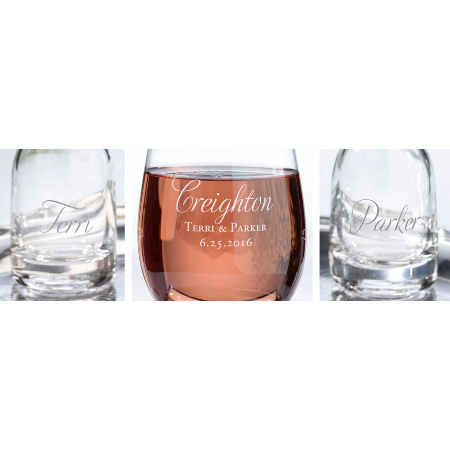 Personalized Script Glass and 2 Carafes Wedding Ceremony Unity Set