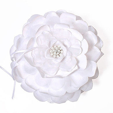 White Floral Wedding Ring Bearer Pillow