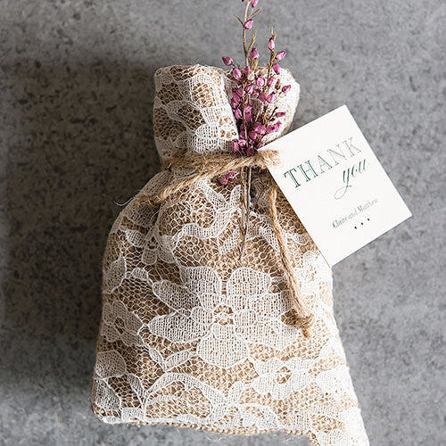 Burlap And Lace Drawstring Favor Bag
