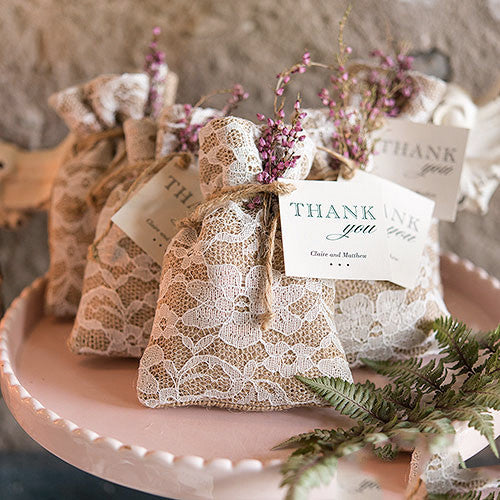 Burlap And Lace Drawstring Favor Bag – Candy Cake Weddings