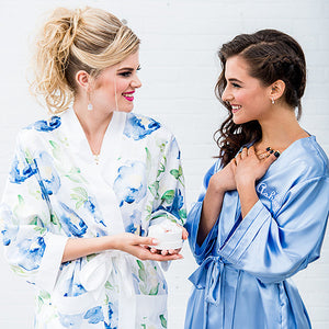 Personalized Silky Solid Color Kimono Bridesmaid Robe