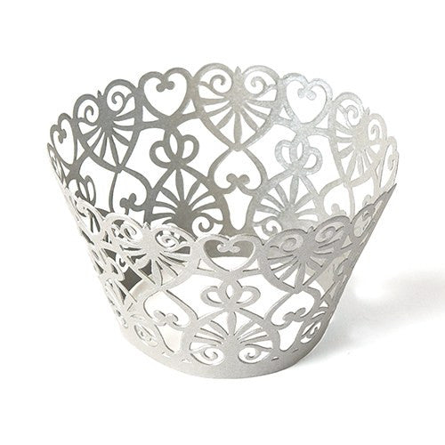 Cupcake Wrappers - Laser Cut Lace Hearts (Pack of 12)