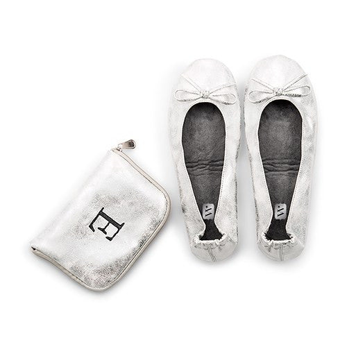 Silver Foldable Flats Pocket Wedding Ceremony Shoes with Personalized Bag