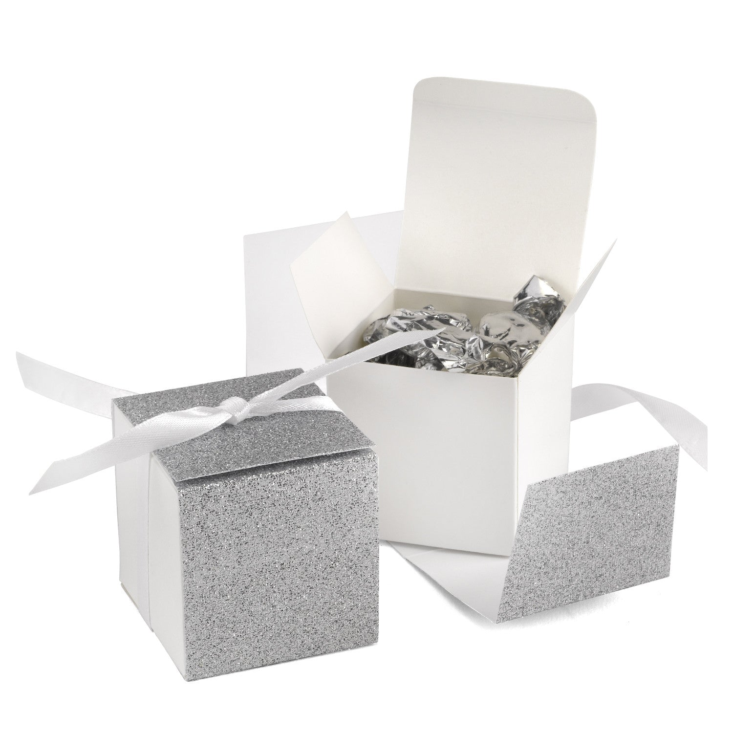 Glitter Wrapped Wedding Party Favor Boxes – Candy Cake Weddings