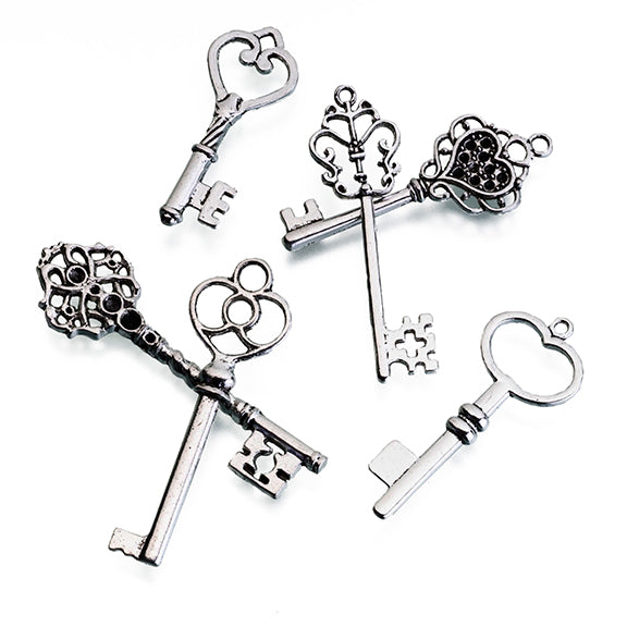 Silver Set of 24 Assorted Keys for Crafts and Weddings Tag Favors