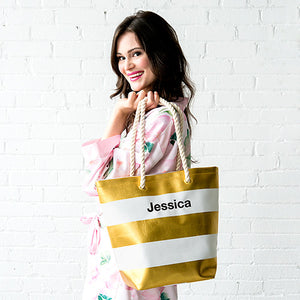 Metallic + Striped Striped Tote Bag