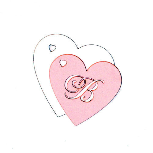 Laser Cut Heart Monogram Pink and White Favor Tag