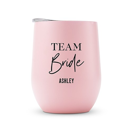 Pink Team Bride Personalized Stemless Travel Tumbler