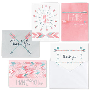 Boho Watercolor Arrow Thank You Card Set (Pack of 25)