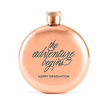 Rose Gold The Adventure Begins Personalized Round 3oz Hip Flask