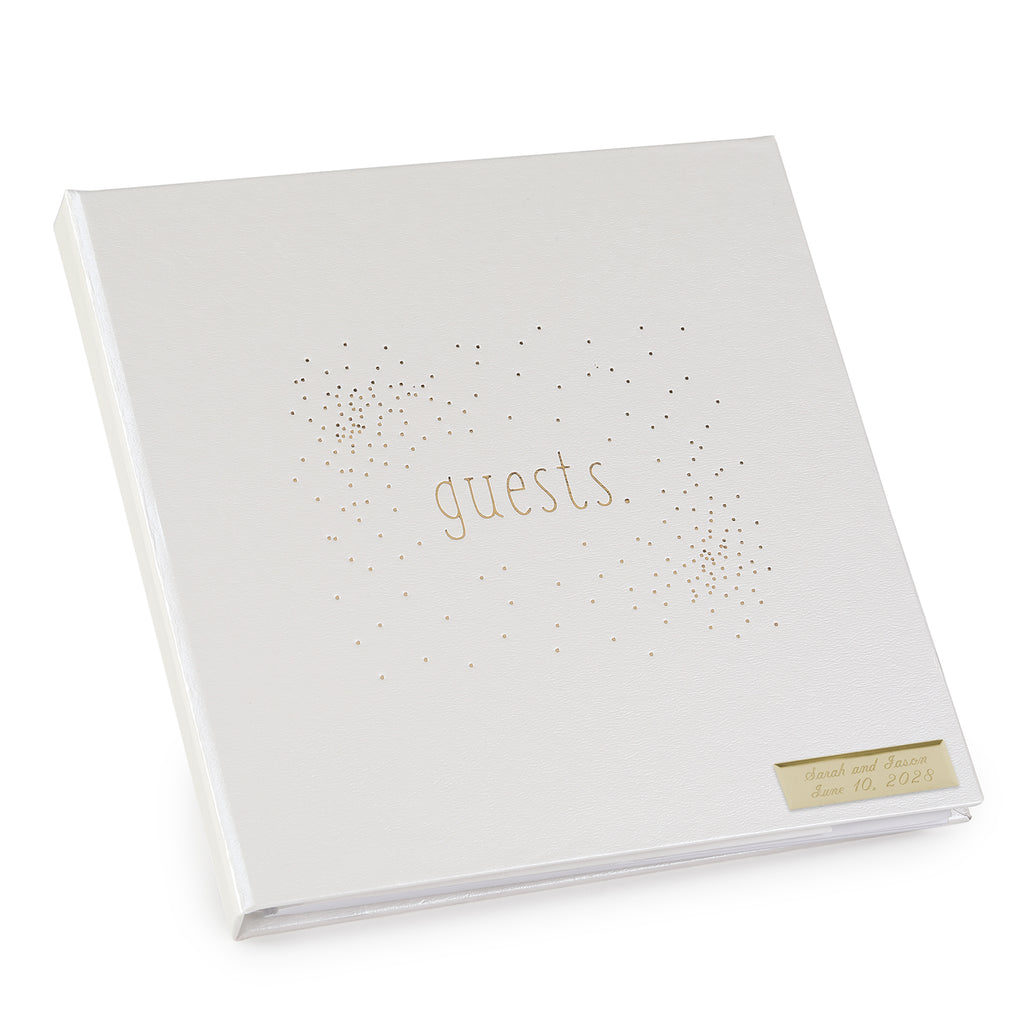 Tiny Dots Gold and White Personazlied Wedding Guest Book
