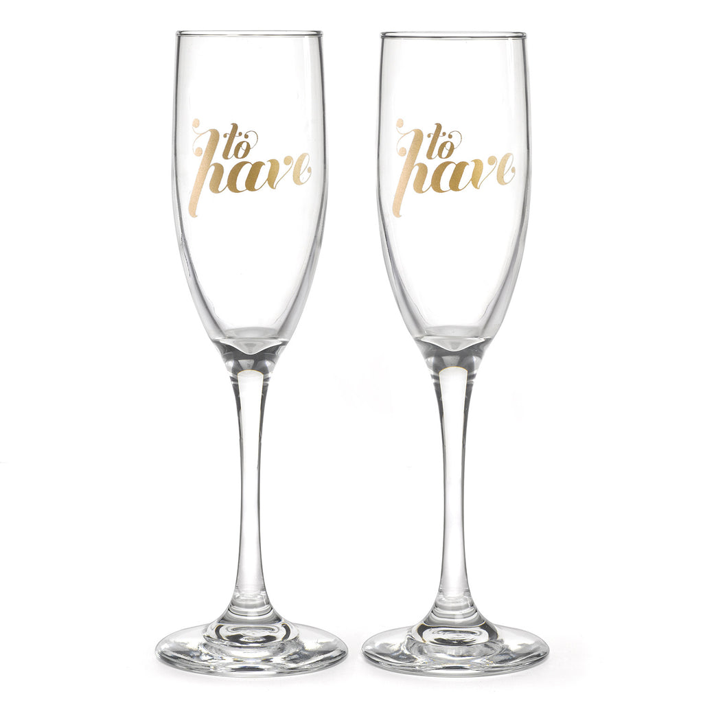 To Have & To Hold Champagne Flutes Glass Set