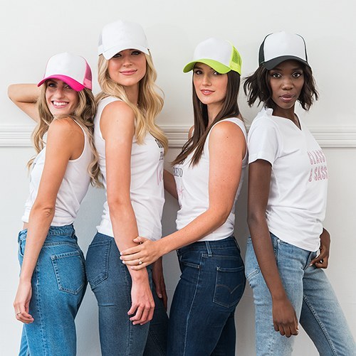 Trucker Cap with Color Bridesmaids Bride Wedding Party