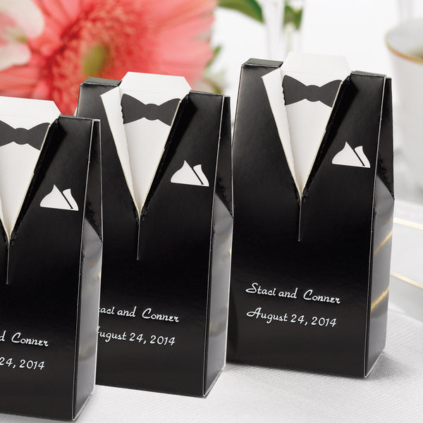 Personalized Gown Or Tuxedo Wedding Favor Box