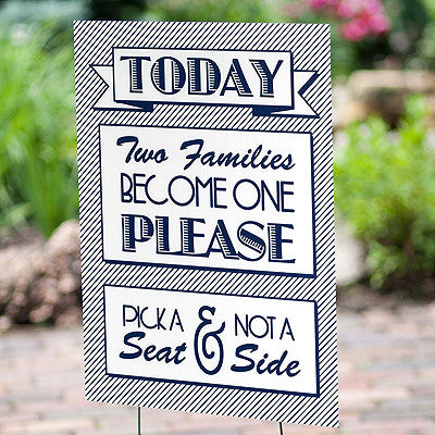 Two Families Become One Wedding Ceremony Yard Sign