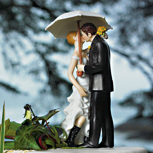 Bride and Groom Umbrella Wedding Cake Topper