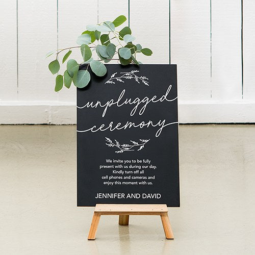 Unplugged Ceremony Personalized Wedding Chalkboard Sign