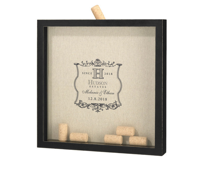 Personalized Vineyard Label Wedding Guest Book Frame for Signing Corks