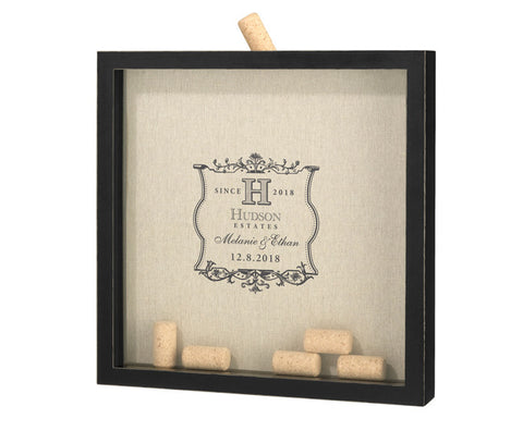 Vineyard Label Wedding Guest Book Frame for Signing Corks