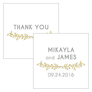 Vintage Gold Personalized Woodland Square Wedding Favor Tag