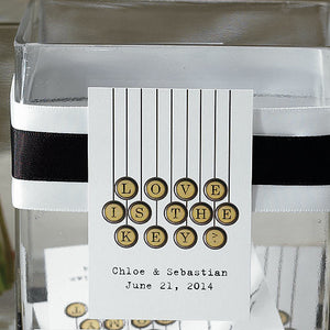 The Vintage Typewriter card being used as a note card for the wishing well.