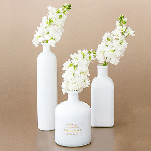 Wedding Decor White Glass Bottle 3 Piece Table Set
