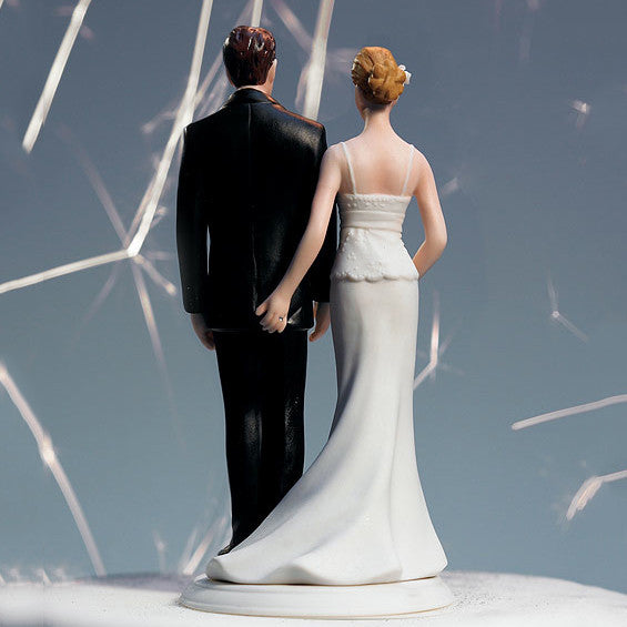The back of the Love Pinch Couple Wedding Cake Topper - Caucasian