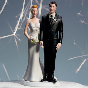 The front of the Love Pinch Couple Wedding Cake Topper - Caucasian
