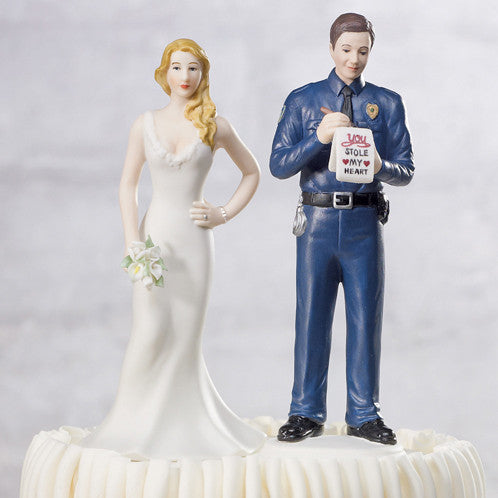 "Wedding Cake Top - ""A Love Citation"" Policeman Groom Figurine giving the bride a Love Ticket."