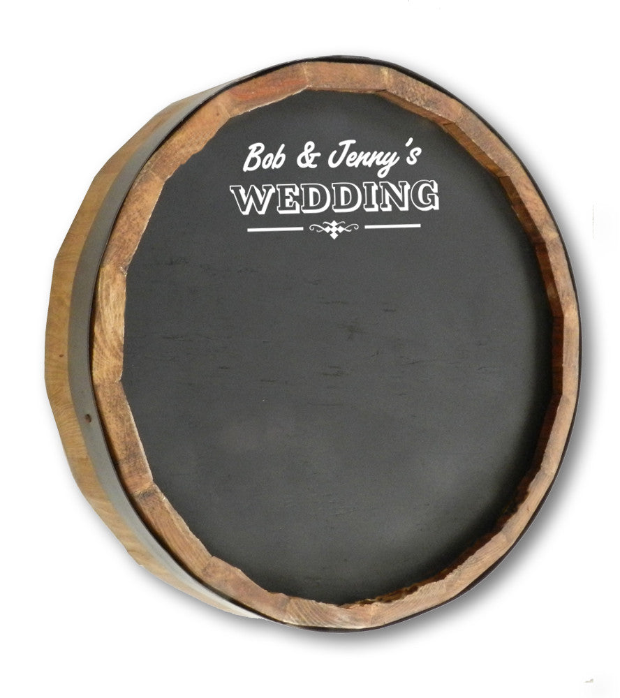 Rustic Wedding Chalkboard Barrel Sign