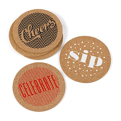 Cheers + Celebrate + Sip Cork Wedding Party Coasters