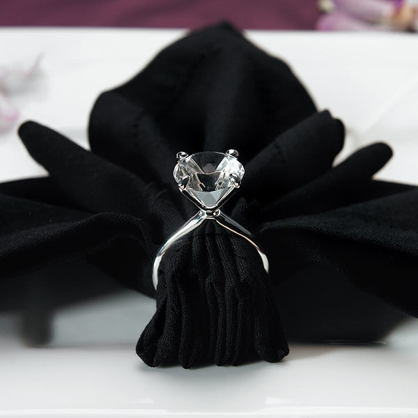Bring a little bling from the bride's finger to your guests or your reception table, with the Diamond Ring Napkin Ring Holders.