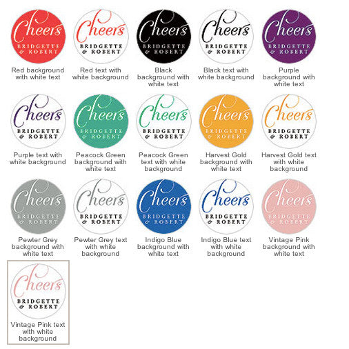 The different colors of the Wedding Favor Personalized Sticker - Round.