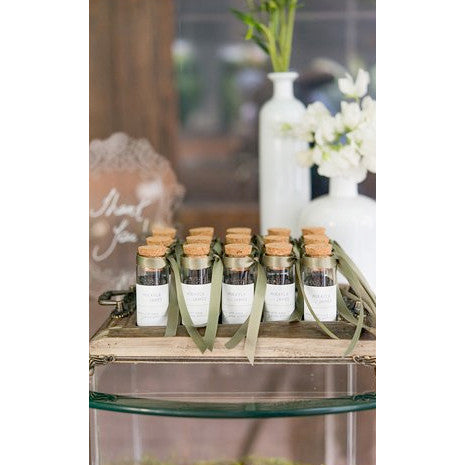 Eco-Favors Seed via Mini Glass Bottles with Cork