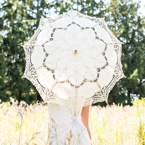 Antique Styled Lace Wedding Ceremony Parasol - Small