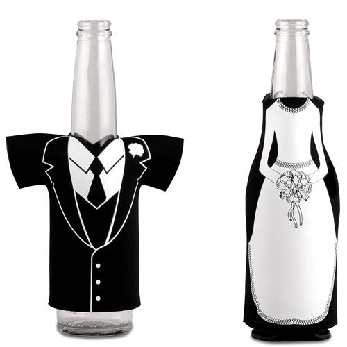 Bride or Groom Glass Bottle Holder Kozy