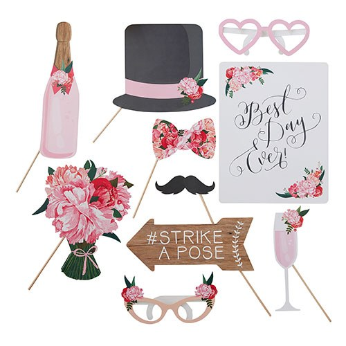 Floral Wedding Reception Party Photo Booth Prop Set