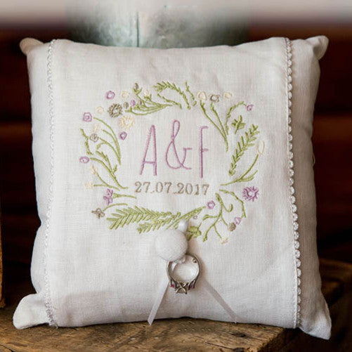 Woodland Rustic Charm Personalized Linen Wedding Ring Pillow
