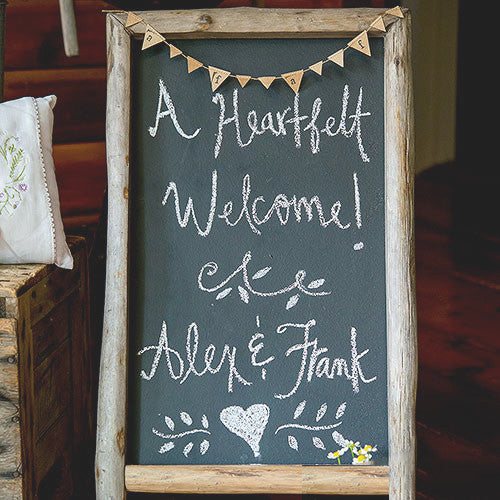Rustic Wedding Chalkboard Sign Self Standing