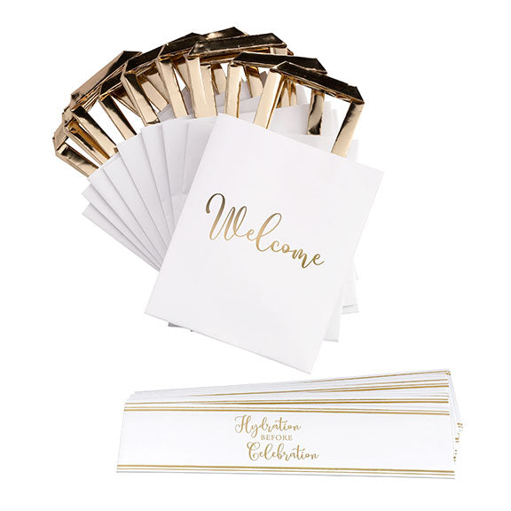 White and Gold Wedding Welcome Bags with Bottle Wraps